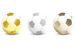 Golden, Silver and Bronze Soccer Ball Royalty Free Stock Image