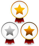 Golden, silver, bronze star badges with ribbons. Award, prize, c Stock Photo