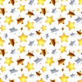 Golden, silver and bronze stars on white, seamless pattern Stock Image