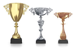 Golden,silver and bronze trophies Stock Photo