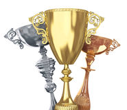 Golden,silver and bronze trophies Stock Image