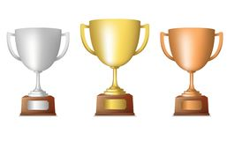 Golden silver bronze trophy set Stock Photography