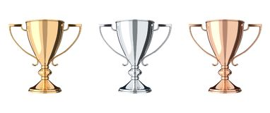Golden, silver and bronze trophy set. Set of trophies gold, silver, bronze. Trophy cup isolated on white background. Graphic design element. Victory, best Royalty Free Stock Photos