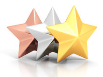 Golden, silver and bronze winner stars on white background Stock Image