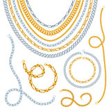 Golden And Silver Chains Set Stock Images