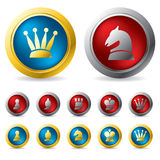 Golden and silver chess buttons. Golden and silver chess button designs Royalty Free Stock Photos