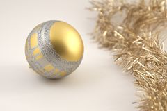 Christmas decoration ball. Golden and silver Christmas ball decoration soft white background Stock Photography