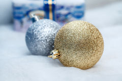 Golden and silver christmas balls, closeup. Big golden and silver christmas balls, closeup stock photos
