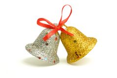 Golden and silver christmas bells Royalty Free Stock Photo