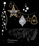 Golden and silver Christmas decoration on black background Royalty Free Stock Photo