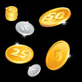 Golden and silver coins Royalty Free Stock Photo