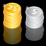 Golden and silver coins. Illustration of the golden and silver coins Stock Image