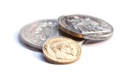 Golden and silver  coins Stock Photos
