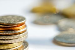 Golden and silver coins in a stack Royalty Free Stock Image