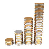 Golden and silver coins stacks Royalty Free Stock Photos