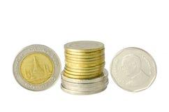 Golden and silver coins Stock Photos