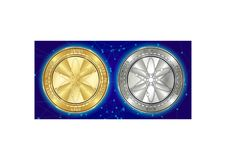 Golden and silver Cosmos ATOM cryptocurrency coins on blockchain background stock photography