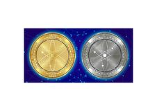 Golden and silver Cosmos ATOM cryptocurrency coins on blockchain background royalty free stock photos