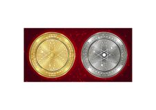 Golden and silver Cosmos ATOM cryptocurrency coins on blockchain background stock images
