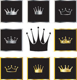 Golden and silver crowns. Set of golden and silver crowns vector illustration Royalty Free Stock Photography
