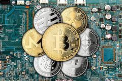 Crypto currency golden silver coin mining computer background stock photography