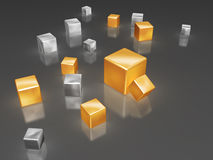 Golden and silver cubes Royalty Free Stock Photos