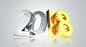 2018 golden silver 3d render. Symbol Stock Photos