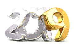 2019 golden silver 3d rendering isolated. Illustration Stock Image