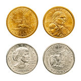 Golden & silver dollar coin Royalty Free Stock Photos