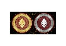 Golden and silver Ethereum ETH cryptocurrency coins on blockchain background stock photos