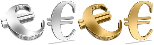 Golden And Silver Euro Signs Royalty Free Stock Images