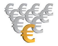 Golden and silver euro symbols illustration Stock Images