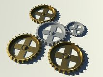 Golden and silver gears. A 3d illustration of some golden and silver gears Stock Images
