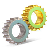 Golden and Silver Gears on white background Stock Photos