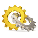 Golden and Silver Gears on white background Stock Photo