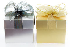 Golden & Silver gift box Stock Photography