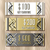 Golden silver gift certificate template in art deco outline style Royalty Free Stock Photos