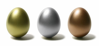 Golden Silver Green Egg Stock Photography