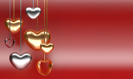 Golden and silver hearts shape on a red background Stock Images