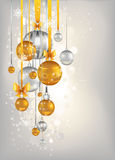 Golden and silver сhristmas background. Golden and silver bells  on beige background Stock Images