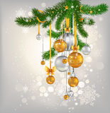Golden and silver сhristmas balls Stock Image