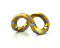 Golden and silver infinity sign Stock Photos