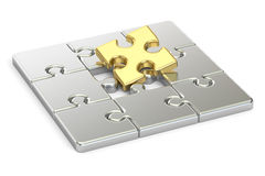 Golden and silver jigsaw puzzle, 3D. Rendering Royalty Free Stock Photos
