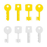 Golden and silver key icon. Stock Image