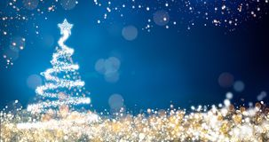 Golden and silver lights with christmas tree on blue background,bright decoration for merry xmas greeting message Royalty Free Stock Photo