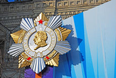 A golden and silver medal of Mikhail Kutuzov. Victory Day decoration on the Red Square in Moscow. Taken on 01.05.2013 Royalty Free Stock Photography