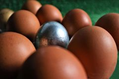 Golden, silver and natural Easter eggs n a green d royalty free stock photos
