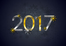 Golden and silver 2017 New Year holiday background. Greeting card decorative vector design Royalty Free Stock Photos