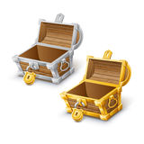 Golden and silver opened chest. Vector Stock Photos