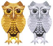 Golden and Silver Owl Royalty Free Stock Photo